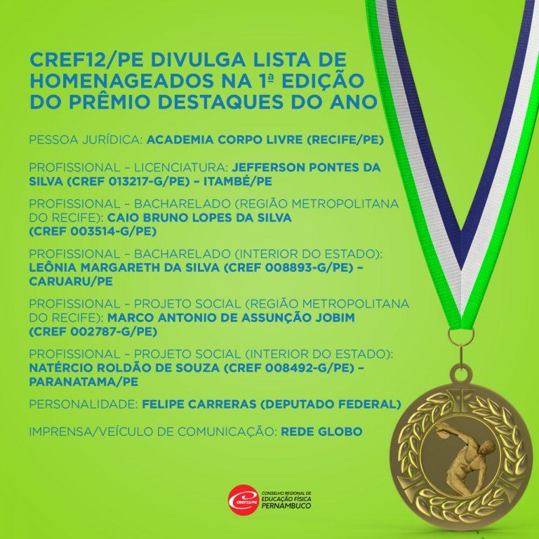 CREF12/PE divulga lista de homenageados na 1ª Edição do Prêmio Destaques do Ano
