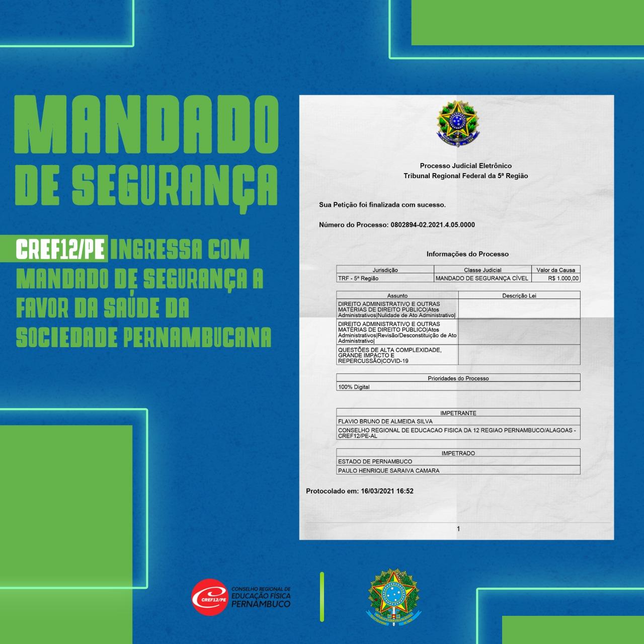 CREF12/PE ingressa com Mandado de Segurança a favor da saúde de toda sociedade pernambucana